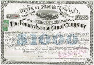 Usa Pennsylvania Canal Company Bond Stock Certificate 1870 photo