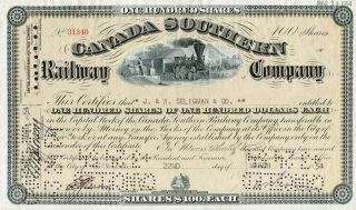 Canada Southern Railway Company Stock Certificate photo