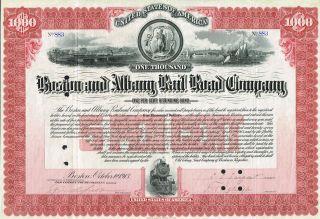 Usa Boston & Albany Railroad Company Stock Certificate photo