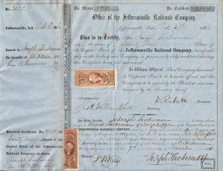 Usa Jeffersonville Railroad Company Stock Certificate 1863 photo