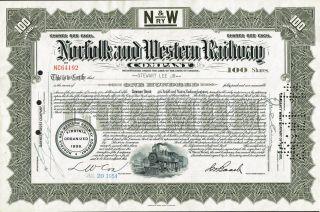 Usa Norfolk & Western Railway Company Stock Certificate photo