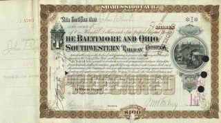 Usa Baltimore & Ohio Southwestern Railroad Stock Certificate 1894 photo