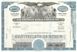 Pan American World Airways,  Inc.  Stock Certificate Nu66020 photo