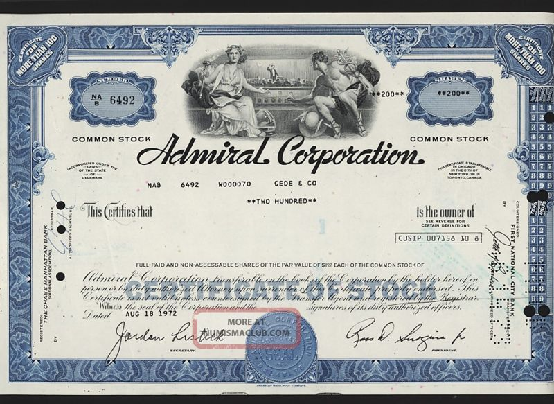 Admiral Corporation (aoc) Tv Radio/ Phonograph Prod. Stocks & Bonds, Scripophily photo
