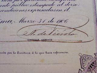 Peru 50 Pound St.  8% Bono Hipotecario Unc.  + Coupons Signature President Pierola photo