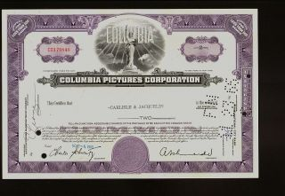 Hollywood :columbia Pictures Corporation 1965 Iss To Broker Carlisle & Jacquelin photo