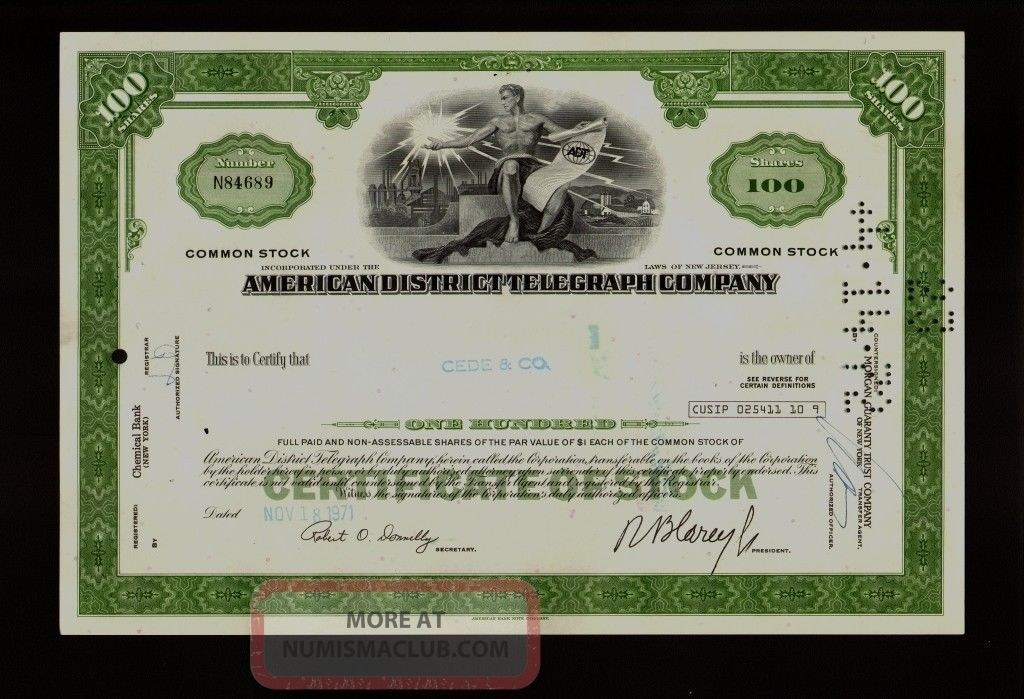 Adt American District Telegraph Co (security) 1971 Old Stock Certificate Stocks & Bonds, Scripophily photo