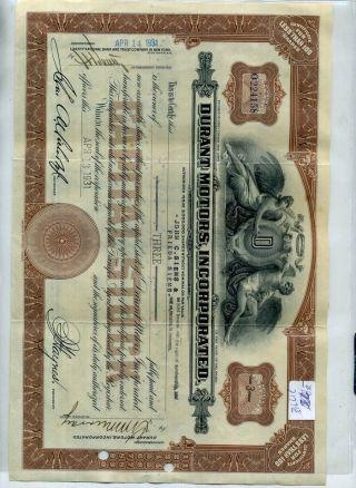 Durant Motors Stock Certificate 1931 Deleware 2177e photo