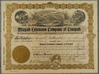 1913 Mizpah Extension Company Of Tonopah Stock Certificate photo