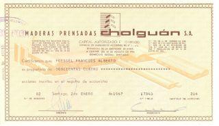 Chile 1967 Stocks Maderas Prensadas Cholguan S.  A.  17340 photo