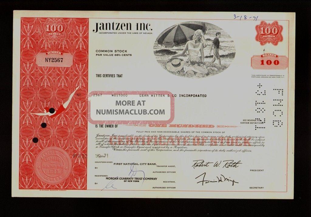 Swim Suits : Jantzen Inc (now Perry Ellis) 1971 Iss To Broker Dean Witter Stocks & Bonds, Scripophily photo