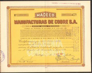 Chile 1969 Stocks Manufacturas De Cobre S.  A.  152161 photo