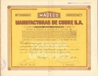 Chile 1970 Stocks Manufacturas De Cobre S.  A.  157033 photo