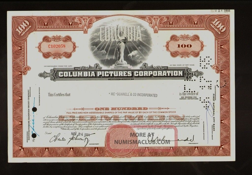 Hollywood :columbia Pictures Corporation 1964 Iss To Mcdonnell & Co Inc Stocks & Bonds, Scripophily photo