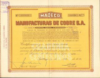 Chile 1968 Stocks Manufacturas De Cobre S.  A.  140875 photo