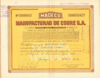 Chile 1969 Stocks Manufacturas De Cobre S.  A.  140869 photo