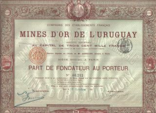 Uruguay France Share 1895 Gold Mines Uncancelled Coupons Deco photo