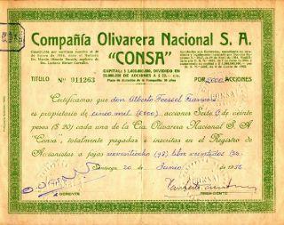 Chile 1956 Stocks Compañia Olivarera Nacional S.  A.  Consa 11263 photo