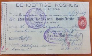 Barclays Bank (dominion,  Colonial & Overseas) Cheque=national Bank South Africa photo