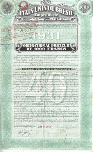 Brazil 5% Bond 1931 State Consalidation Loan 1000 Fr Uncancelled Deco Coupons photo