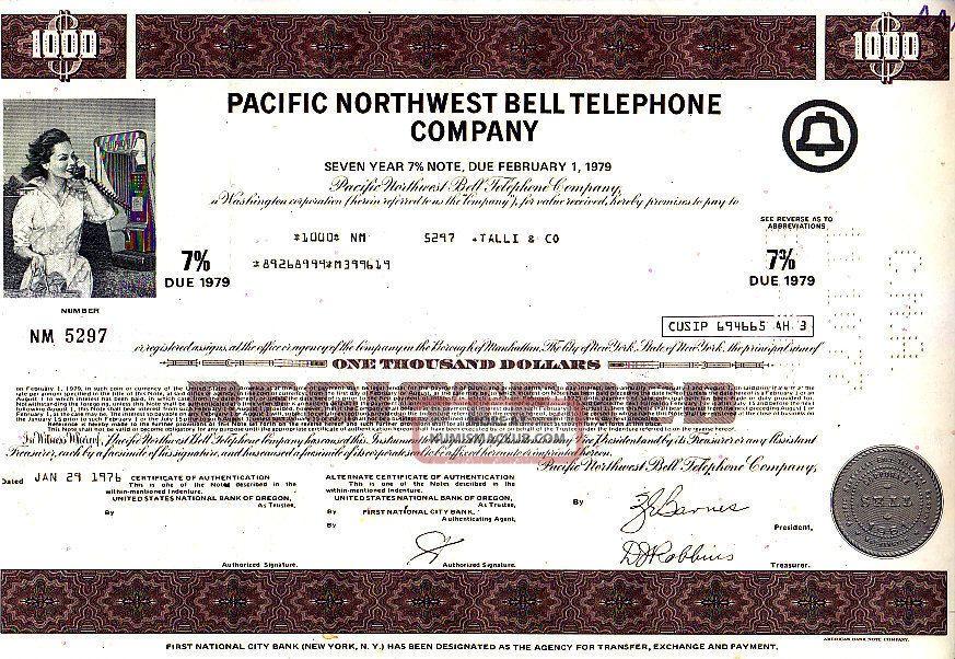Pacific Northwest Bell Telephone Company Wa 1976 Stock Bond Certificate Stocks & Bonds, Scripophily photo