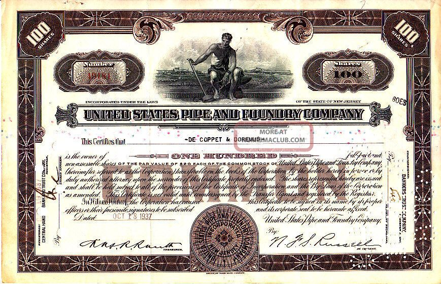 United States Pipe And Foundry Companystock Certificate Stocks & Bonds, Scripophily photo