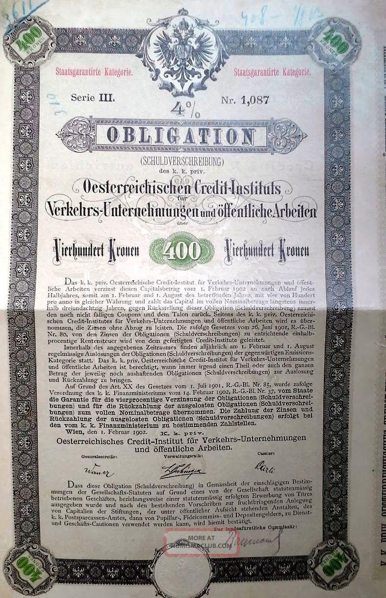 Austria Austrian 1902 Oesterreichischen Credit Instituts 400 Kronen Bond Loan World photo