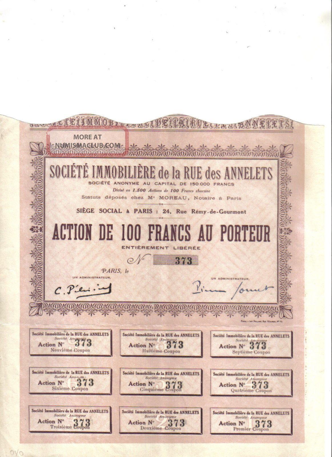 France societe immobiliere de la rue des annelets 100 fr for Societe construction immobiliere