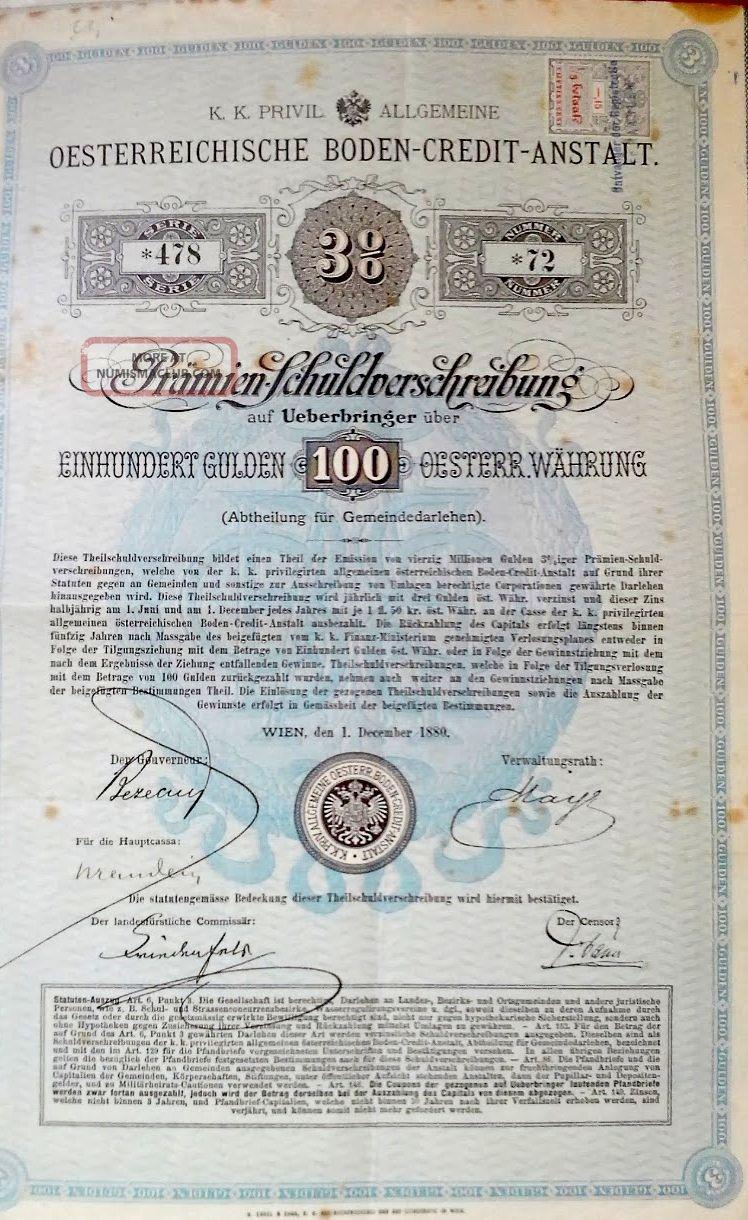 Austria Austrian 1880 Oesterreichische Boden Credit Anstalt 100 Gulden Bond Loan World photo
