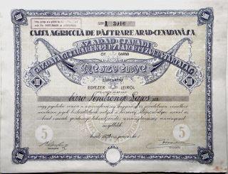 Romania Transylvania Cenadeana,  Owner: Báró Andrényi Lajos,  5.  000 Lei,  Arad 1928 photo