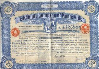 Uruguay 1911 Rambla Company Monte Video 20 Shares £20 Uncancelled Coupons Deco photo