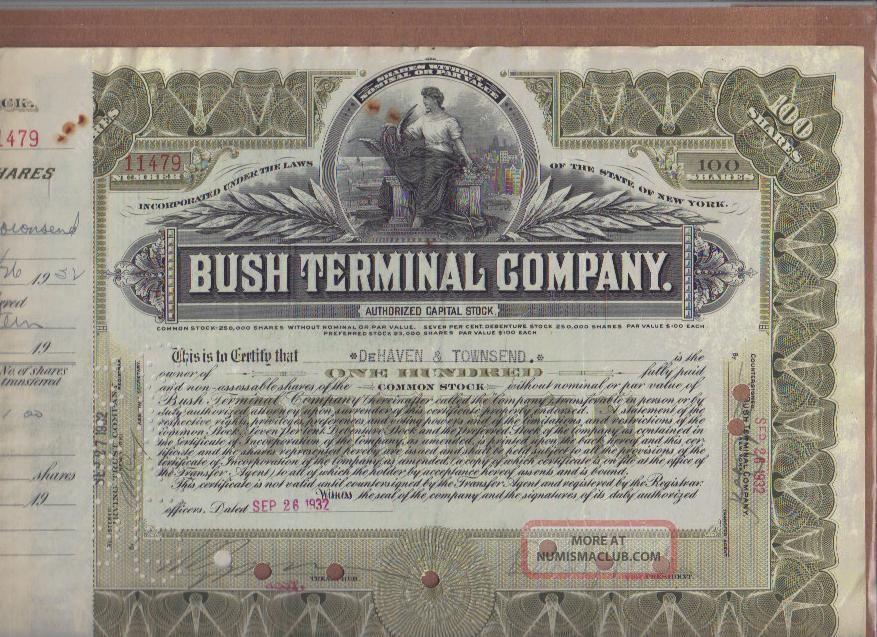 Bush Terminal Company,  N.  Y.  Stock Certificate,  1932 Stocks & Bonds, Scripophily photo