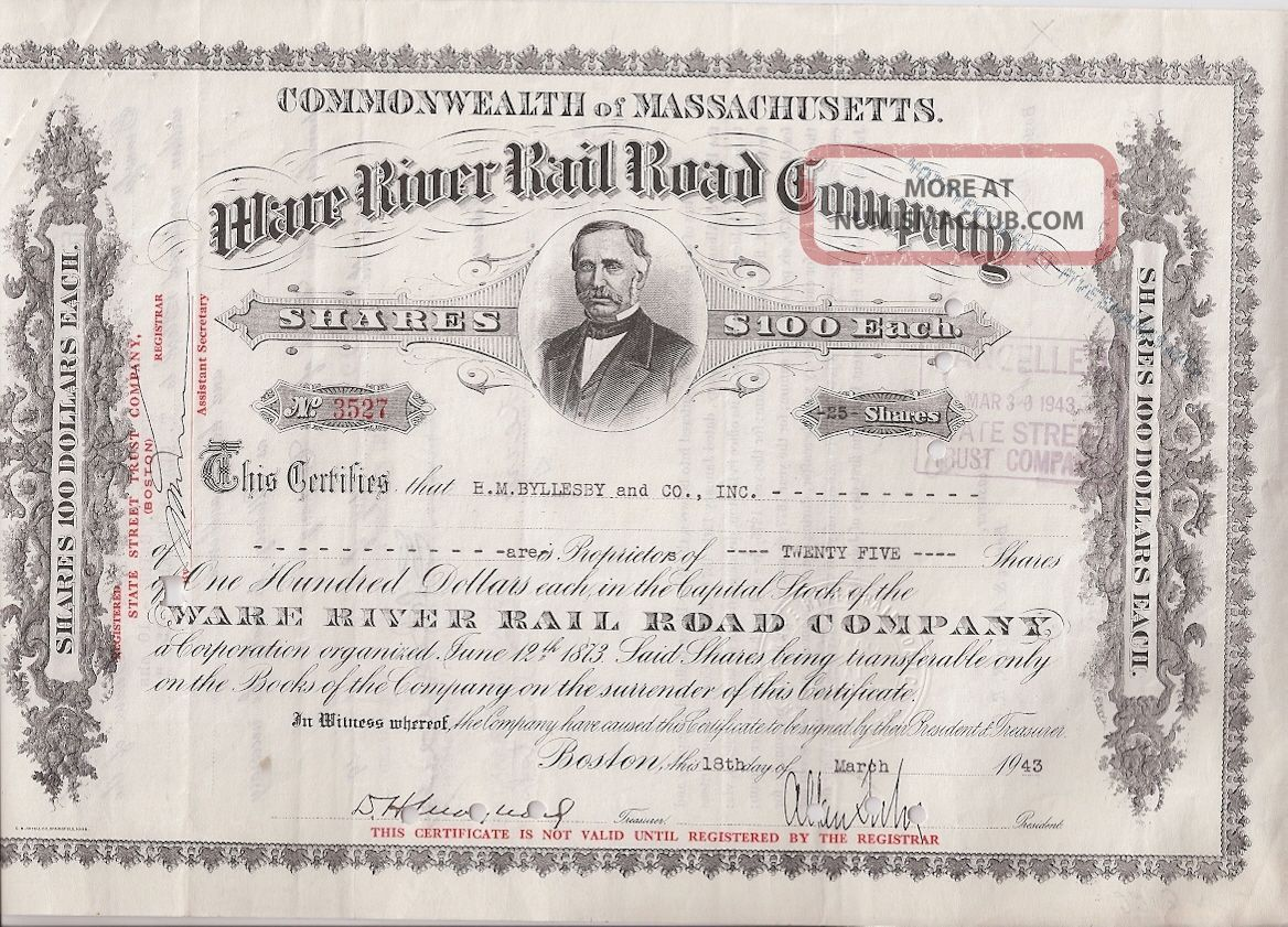 Ware River Rail Road Company. . . . . .  1951 Stock Certificate Stocks & Bonds, Scripophily photo