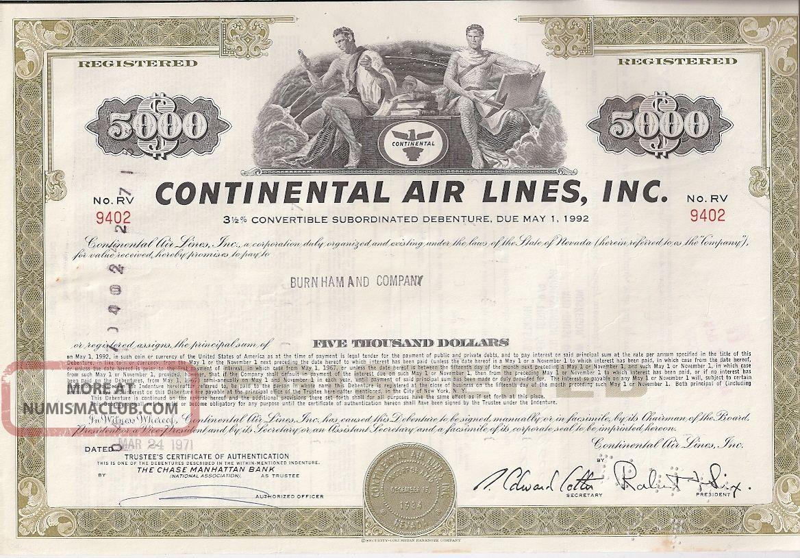 Continental Air Lines Inc. . . . .  Debenture Due May 1992 Stocks & Bonds, Scripophily photo