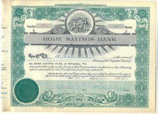 Home Savings Bank Stock Certificate Milwaukee Wisconsin photo