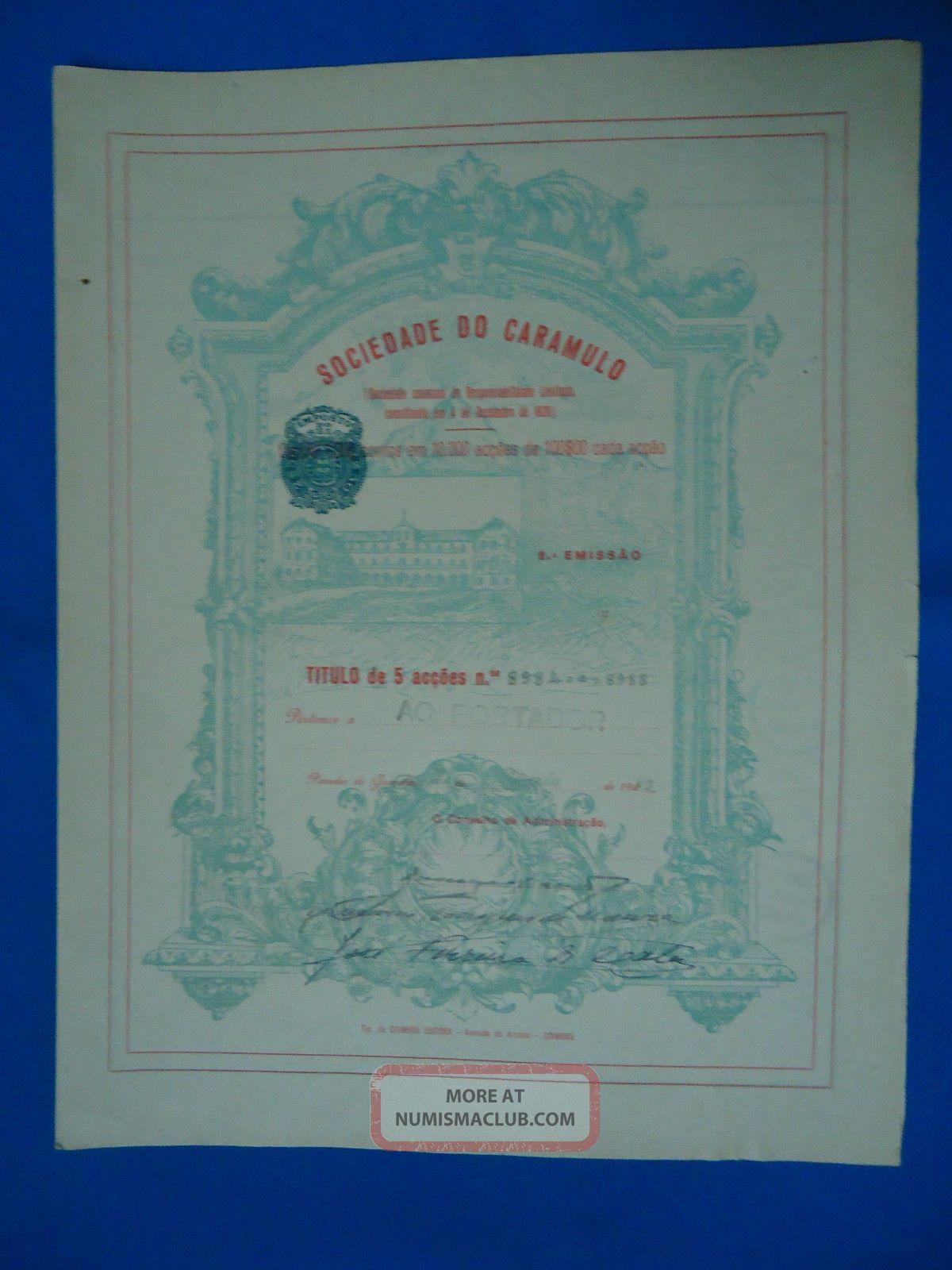 Portugal Share Sociedade Do Caramulo 500 Escudos 1932 Look Scans World photo