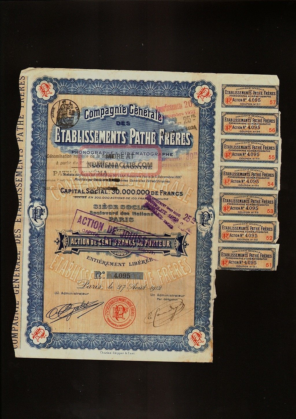 Ets Pathe Freres Phonographe & Cinematographe Paris France 1912 Cinema Movie Stocks & Bonds, Scripophily photo
