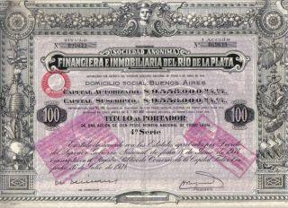 Argentina Bond 1934 Financiera Inmobiliaria Rio Plata 100 P Uncancelled Deco S 4 photo