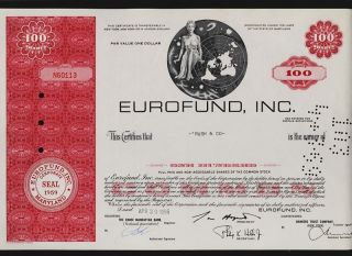 Eurofund Inc Maryland Iss To Rush & Co Old Stock Certificate photo