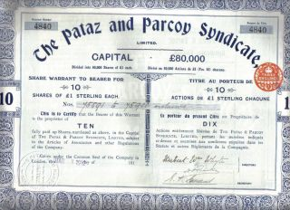Peru 1912 Bond The Pataz & Parcoy Syndicate Co £10 Uncancelled Coupons photo
