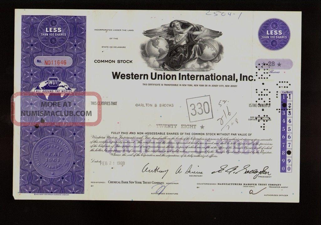 Wui : Western Union International Inc York 1968 Iss To Carlton & Brooks Stocks & Bonds, Scripophily photo