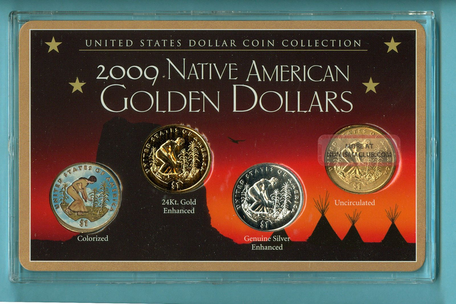 2009 Native American Sacagawea Golden Dollars In Wooden