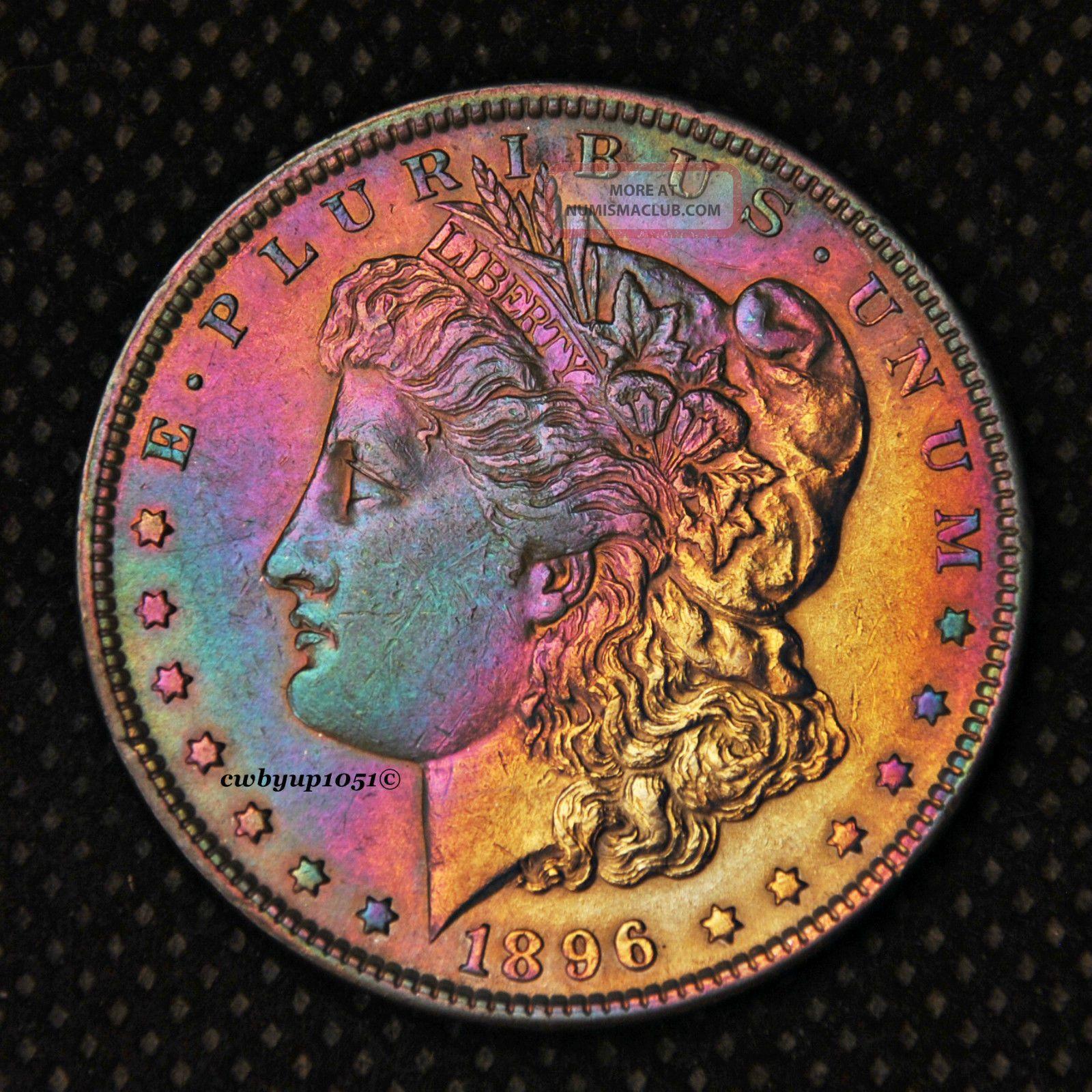 1896 P Morgan Silver Dollar Rainbow Toned Cartwheel Luster