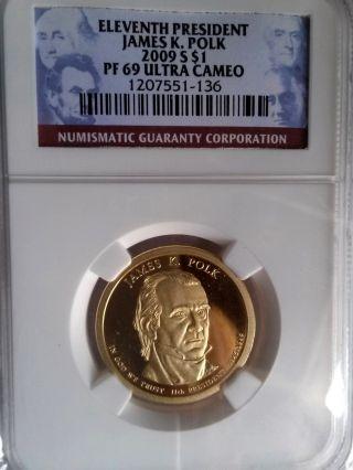 2009 S James K.  Polk (pf 69 Ultra Cameo) Presidential Dollar Coin photo