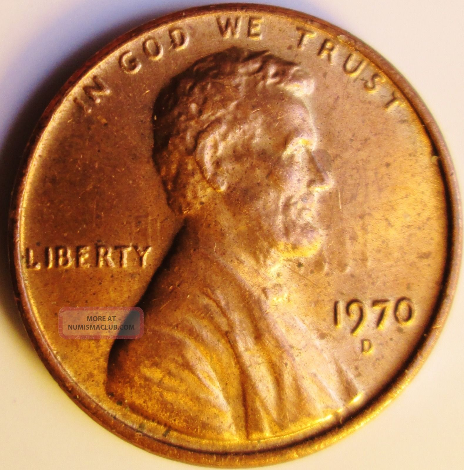 1970 D Lincoln Cent Obverse Die Clash