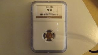 1853 Gold Au58 One Dollar Coin Ngc photo