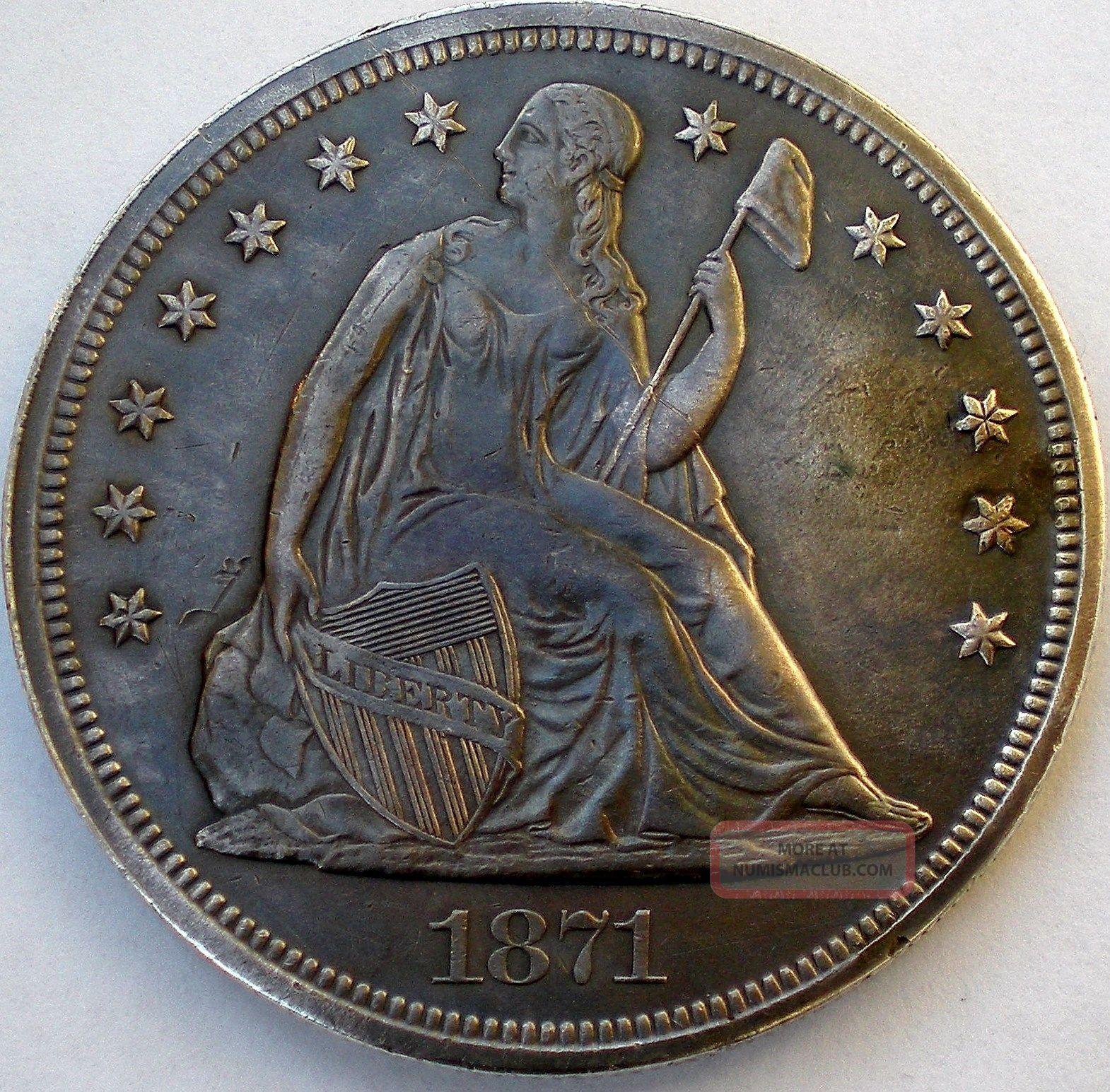 1871 Seated Liberty Silver Dollar Dollars photo