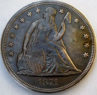 1871 Seated Liberty Silver Dollar photo