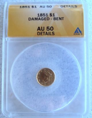 1851 $1.  00 Liberty Head Dollar Gold Coin Anacs Au50 photo
