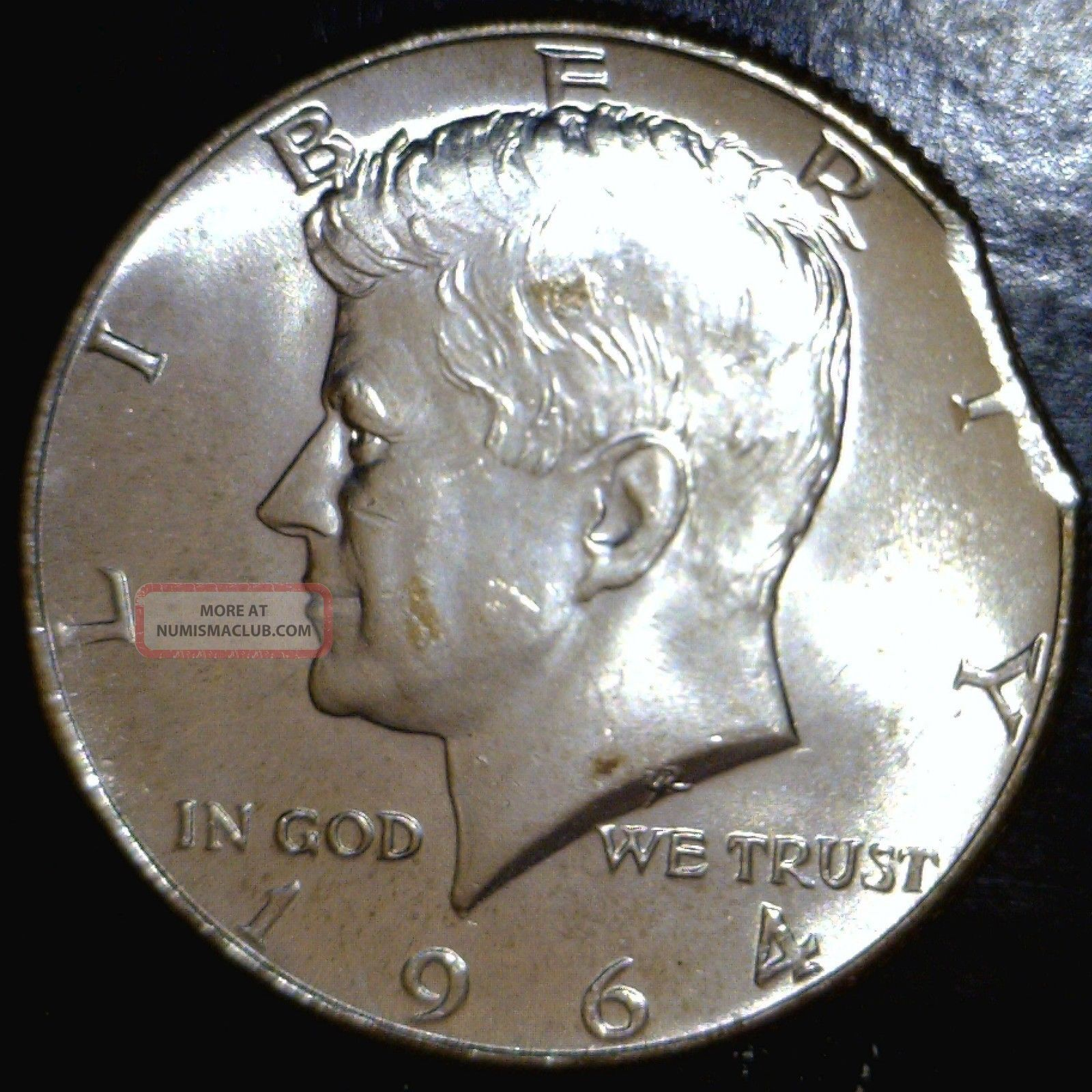 1964 Defect Planchet Clip Error Silver Kennedy Half Dollar